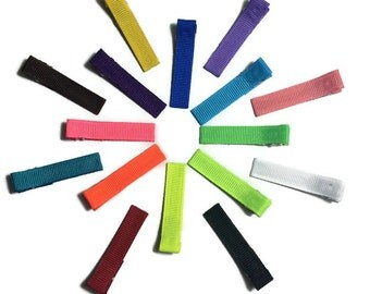 """50- Lined 1.75"""" (45mm) Alligator Clips - Partially or Fully Lined - No-Slip - You Choose Colors - Solid Grosgrain Ribbon Lined Hair Clips"""