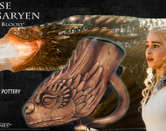 Game of Thrones Dragon Drinking Horn Beer Mug, Fantasy Art Cup, Daenerys' Drogon, LARP, Gamers, Renaissance/Fantasy Fest. Costume Mug