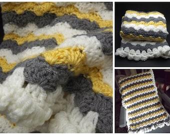 Crochet Baby Blanket, Car Blanket, Yellow Gray White Baby Afghan, Newborn Gift, Lap Blanket, Baby Gift, Receiving Blanket, Travel Blanket