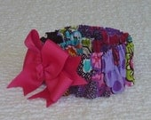 "Vibrant Floral Dog Scrunchie Collar with big pink bow - Size M: 14"" to 16"" neck - OOAK BOW"
