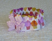 "Cupcake Rows Dog Scrunchie Collar with lilac bow - Size M: 14"" to 16"" neck"