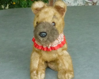 "Gingerbread Dog Scrunchie Collar - red pleated trim - Size XS - 10"" to 12"" neck"