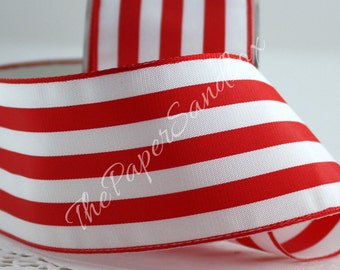 "Red & White Striped Ribbon, 2"" wide, Gift Wrapping, Christmas, Wreaths, Nautical, Bows, Gift Ribbon, Party Supplies, Sewing"