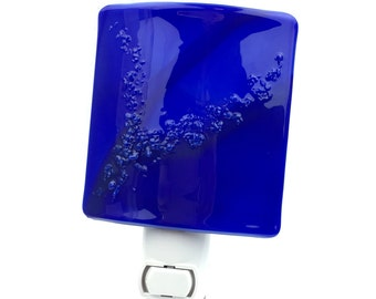 Night Light, Deep Blue Art Glass Shade