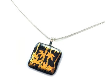 Pendant Necklace, Black with Gold Bamboo Leaves