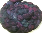 Hand painted Polwarth & tussah silk roving 4.8 oz Purple Dahlia - dyed top spinning and felting fiber - combed top - purple and green wool