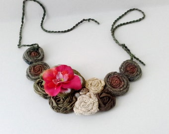 Brick and Green Bib Necklace Fabric Rosettes with orchid jewelry, fabric necklace Textile jewelry