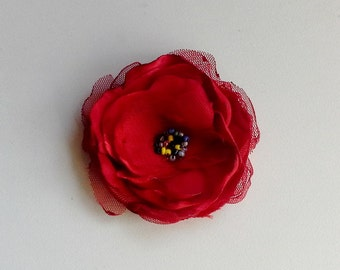 Red flower with tulle, red fabric flower brooch and hair clip, Red Flower Brooch