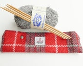 DPN holder in Harris Tweed, red and grey tartan, knitting needle storage