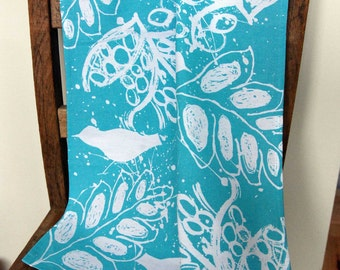 Tea Towel. Birds and Leaves Screen Printed Tea Towel in Blue. Manufactured in the UK. 100% Cotton.