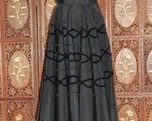 ON SALE Vintage 1950s Black Taffeta and Velvet Circle Skirt