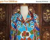 ON SALE 1960s LANVIN Abstract Print Shirt Dress Sz 12