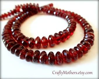 "New! MOZAMBIQUE Red GARNET Faceted Rondelles, 5.5-6mm diameter, 2"" strand (18 beads), crimson, natural gemstone"