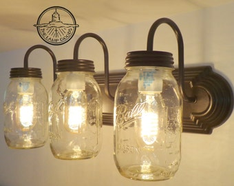 MASON JAR Wall Sconce NEW Quart Trio Light Vanity - Flush Mount Lighting Fixture Farmhouse Ceiling Chandelier Fan Track Bathroom LampGoods
