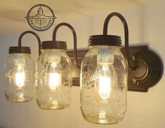 Wall Mounted Fruit Jar Lights : MASON JAR Wall Sconce NEW Quart Trio Light Vanity Flush