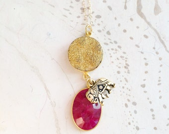Ruby Druzy Necklace Valentine Jewelry by MinouBazaar
