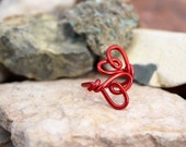 18 gauge Love - Red Wire Heart Bypass Ring (Adjustable)