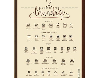 Laundry Care Guide, Laundry Symbols Chart, Calligraphy Art, Housewarming Gift, Vintage Style, Illustration Art Print, Decor, Laundry Room