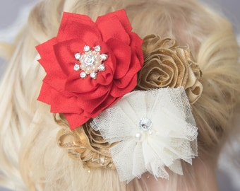 Red Hair clip, shiny Gold Hair clip, ivory hair clip, christmas hair clip, girl hair accessory, wedding hair clip, flower girl accessories
