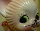 Vintage Pink Cat Figurine