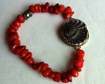 Ammonite Fossil and Coral Bead Stretch Bracelet