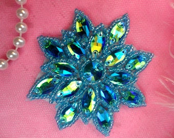 "N19 Rhinestone Applique Turquoise Aurora Borealis Glass Snowflake Floral Beaded Patch 2.75"" (N19-trab)"