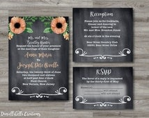 wedding invitation custom blush posey flower chalkboard rustic digital download