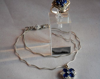 Kyanite and Moonstone Pendant and Ring Size 9, Kyanite and Faceted White Topaz. Stones are cornflower blues and nicer than saphires.