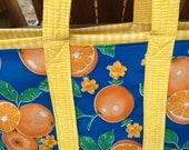 The Floridian ----large reversible oilcloth tote bag