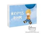 Personalized boys door sign, Custom Baby boy Door Hanger ,nursery personalized plaque , kids room sign, bedroom door plaque balloon bunny,