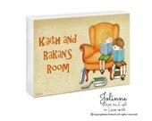 Personalized door sign, children art, library sign, door plaque, kids book nook, reading room sign, door hanger, kids custom , art plaques