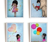 African American dark skin girl wall art, set of 4 art prints, posters for kids room, custom hair and skin color, nursery art,girls wall art