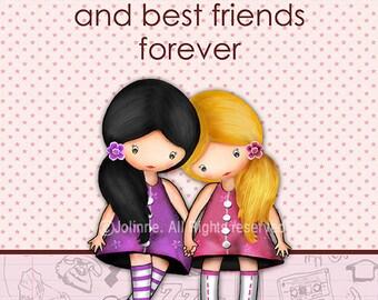 Sisters love quote wall art, girls bedroom art, sisters best friends forever, poster for sisters bedroom, illustration, art for girls room