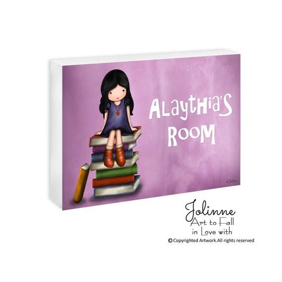 Girl on books purple personalized children door plaque sign, school sign, teacher door sign, kids art decor, baby room sign