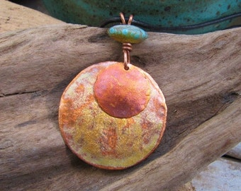 Golden Patina Copper Jewelry Large Medallion and Lampwork Bead