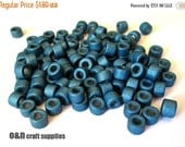 ON SALE Tube greek ceramic beads, metallic blue beads - set of 50