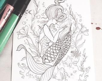 Adult Coloring Postcard- Reading Mermaid - 5x7 Cardstock Print
