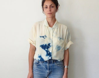 Indigo Dyed Shibori Boxy Oxford Blouse Short Sleeves