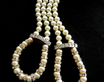 1970s italian couture simulated pearl white ivory long dangling earrings - pearls and clear crystals for a bold effect -Art.26/4-