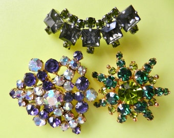 Lovely 1940s Old Europe collection Brooches/Pins - three Art Glass brooches  with gorgeous dazzling stones  - Art.387 -