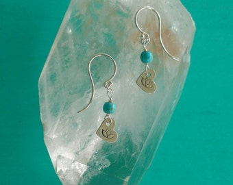 SILVER LOTUS Heart Earrings, Tiny Dangle Earrings with Lotus and Magnesite Beads, Lotus Flower Heart Earrings, Yoga Inspired Jewelry