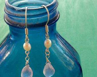 ROSE QUARTZ and Freshwater Pearl Earrings with Sterling Silver