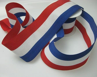 Vintage Red White Blue striped ribbon Made in France 2-1/2 inch wide P050