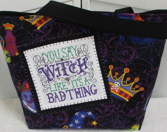 Good Witch Large Tote Bag Black and Purple Tote Bag Halloween Tote Bag Gothic Edgy Purse Ready To Ship