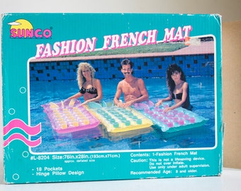 1980s Pool Float, Raft, Unused in Original Box, Hot Pink and Yellow, Pool Party, Summer Pool Decor, Day Glow, Sunco Fashion French Mat