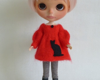 Oh my cat red mohair dress for BLythe