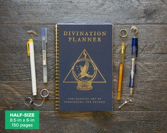 Divination Planner - Blue  / Weekly / Half-Size / 12 Months / Choose Layout (Vertical or Horizontal) / Pick Your Starting Month