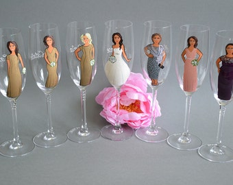 7 x Personalised Brides Glass Bridesmaids Gift Wedding Glasses Champagne Glass Personalized Caricatures Hand painted to their Likeness
