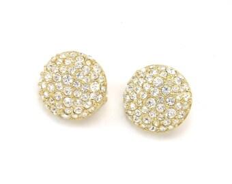 Rhinestone Earrings, Swarovski Crystal Earrings, Gold Earrings, Round Rhinestone Earrings, Button Earrings, Swarovski Earrings
