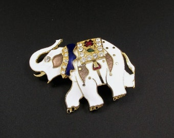 Enameled Elephant Brooch, African Brooch, Animal Brooch, Republican Brooch, Elephant Pin, White Elephant Brooch, Rhinestone Brooch